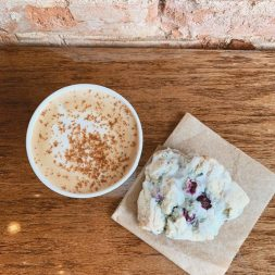 Pumpkin Spiced Latte and Vegan Blueberry Scone at Huntersville Main Street Coffee & Coworking